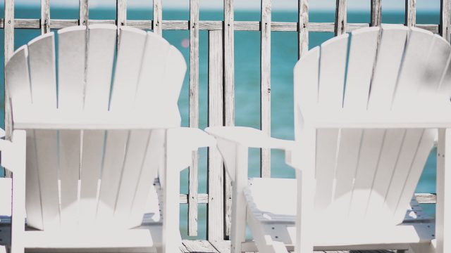 White Chairs Facing Ocean View